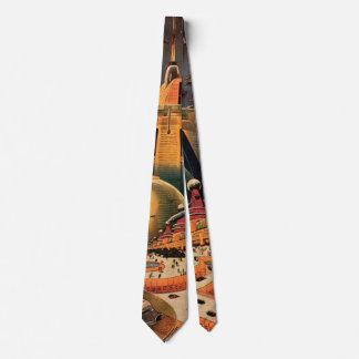 Cravates Voiture futuriste vintage de vol de ville de la