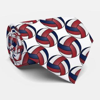 Cravates Volleyball blanc, rouge foncé et bleu-foncé de