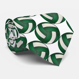 Cravates Volleyball vert-foncé et blanc sportif