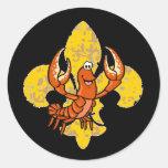 Crawfish Fleur De Lis Sticker Rond