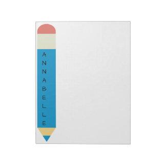 Crayon bleu d'école blocs notes