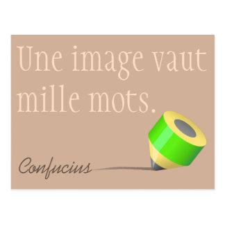 Crayon - mots de mille de vaut d'image d'une - cartes postales
