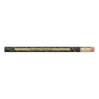 Crayon Personnalisez le soixantième or/cadeau noir de