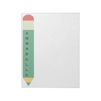 Crayon vert d'école blocs notes