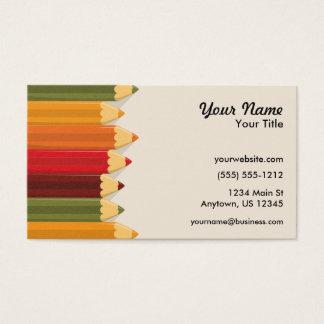 Crayons colorés par artiste cartes de visite