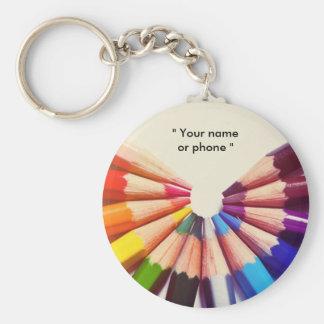 Crayons couleurs en éventail porte-clé rond
