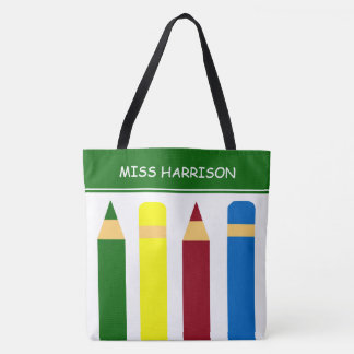 Crayons de jours d'école personnalisés tote bag