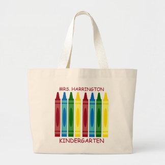 Crayons d'école personnalisés grand tote bag