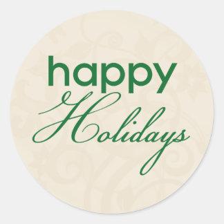 Cream and Green Happy Holidays Sticker
