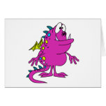 créature rose mignonne de monstre de dragon cartes de vœux