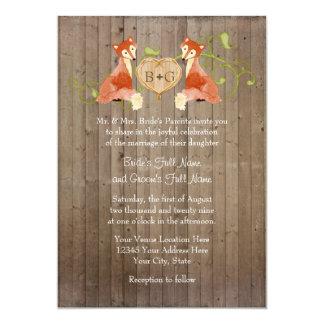 Créatures animales de région boisée, mariages de cartons d'invitation