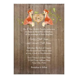 Créatures animales de région boisée mariages de v cartons d'invitation