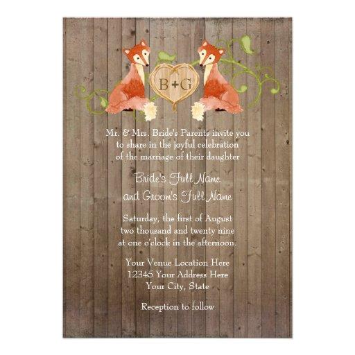 Créatures animales de région boisée, mariages de v cartons d'invitation