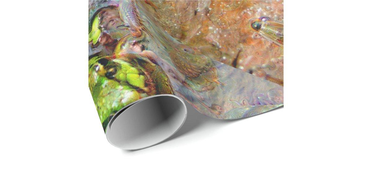 Cr atures r veuses grenouille deepdream papier cadeau no l zazzle - Papier cadeau personnalisable ...