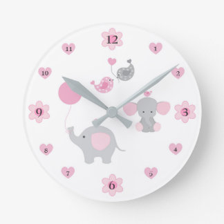 Crèche grise grise de bébé de rose d'éléphant de horloge ronde