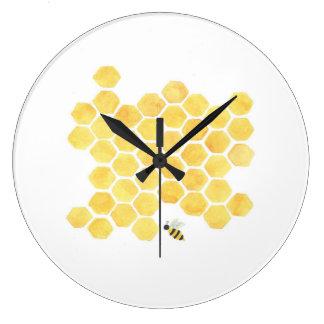 crèche jaune de cuisine d'horloge murale d'abeille grande horloge ronde