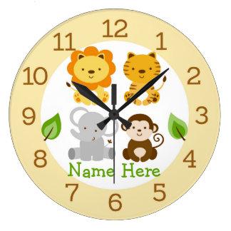 Crèche mignonne d'animal de jungle de safari grande horloge ronde