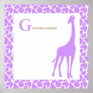 Crèche pourpre de bébé de girafe poster