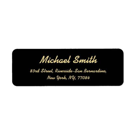 Créez l'adresse de retour élégante d'or noire étiquettes d'adresse retour