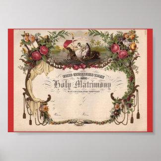 Créez pour posséder le certificat de mariage vinta affiches
