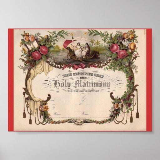 Créez pour posséder le certificat de mariage vinta posters