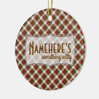 Créez vos propres vacances de guingan de Noël Ornement Rond En Céramique