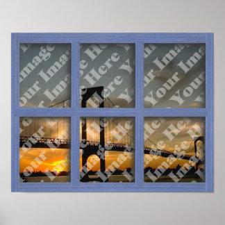 Créez votre propre châssis de fenêtre en bois bleu posters