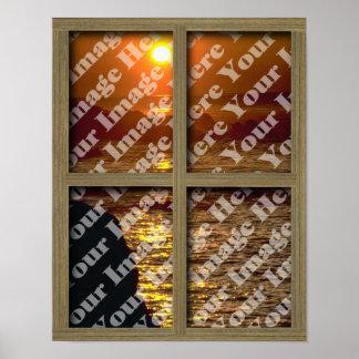 Créez votre propre fenêtre avec le cadre brun posters