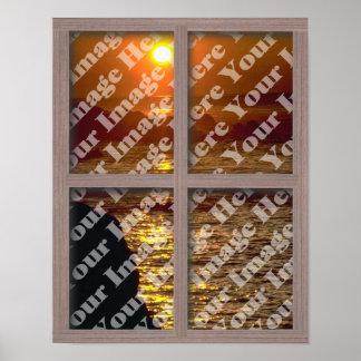 Créez votre propre fenêtre avec le cadre en bois posters