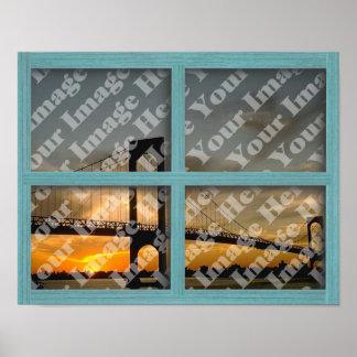 Créez votre propre fenêtre en bois verte de cadre posters