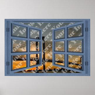 Créez votre propre fenêtre ouverte de bleu de 6 posters