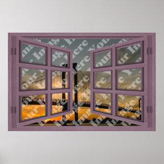 Créez votre propre fenêtre ouverte en bois rose de posters