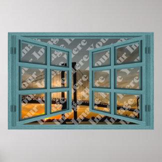 Créez votre propre fenêtre ouverte en bois verte posters