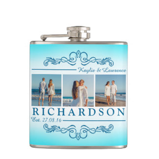 Créez votre propre monogramme de mariage de plage flasques