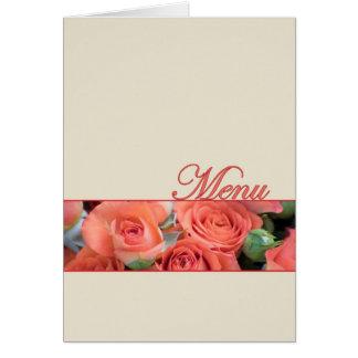 Crème de roses de pêche de carte de menu de mariag