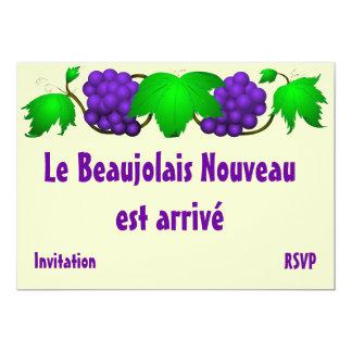 Crème d'invitation de nouveau Beaujolais Carton D'invitation 12,7 Cm X 17,78 Cm