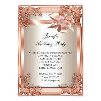 Crème élégante d'orange de fête d'anniversaire carton d'invitation  12,7 cm x 17,78 cm