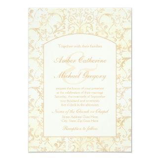 Crème florale de damassé et mariage beige carton d'invitation  12,7 cm x 17,78 cm