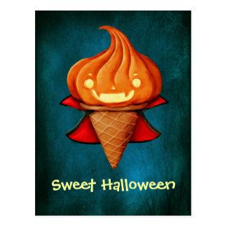 Crème glacée de citrouille de vampire de Halloween Carte Postale
