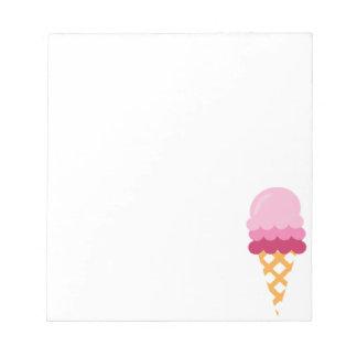 Crème glacée de fraise bloc-note