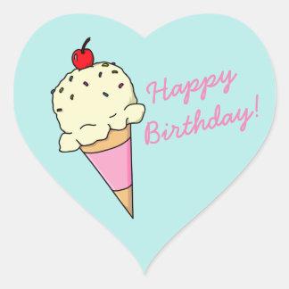 Crème glacée de joyeux anniversaire sticker cœur