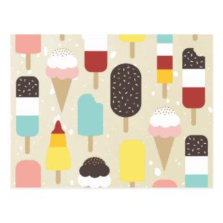 Crème glacée et cartes postales congelées de