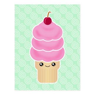 Crème glacée triple de scoop de Kawaii Carte Postale