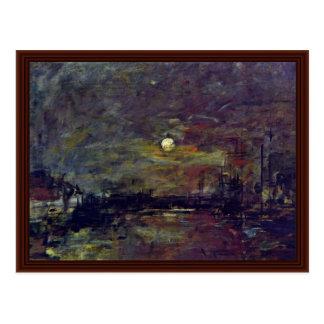 Crépuscule au-dessus du port du Havre par Boudin E Cartes Postales
