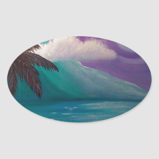Crépuscule dans le paradis sticker ovale