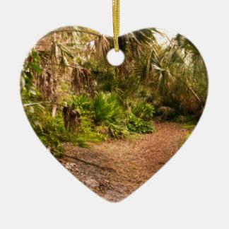 Crépuscule dans l'hamac de bois dur de la Floride Ornement Cœur En Céramique