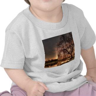 Crépuscule de nature après réflexion rougeoyante t-shirts