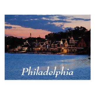 Crépuscule de rangée de Boathouse Carte Postale