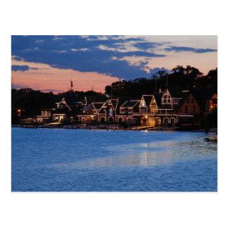 Crépuscule de rangée de Boathouse Cartes Postales