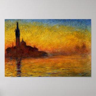 Crépuscule, Venise par Claude Monet Posters